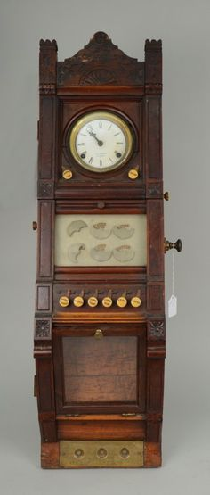 VICTORIAN CARVED WOOD SERVANTS CALL SYSTEM AND CLOCK D