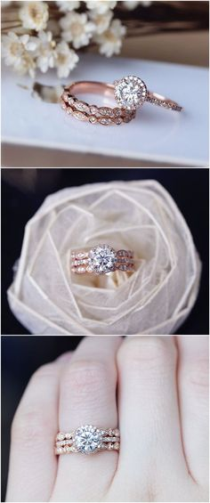 20 Rose Gold Engagement Rings That Will Leave You Speechless Brilliant Moissanite Engagement Ring 3 Ring Set Solid Rose Gold Wedding Ring Set Moissanite Ring Set Anniversary Ring Set / www. Wedding Rings Sets Gold, Wedding Rings Simple, Wedding Band Sets, Wedding Rings Vintage, Trendy Wedding, Wedding Ideas, Bridal Rings, Rose Gold Weddings, Wedding Favors