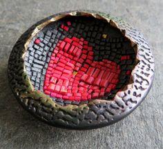 Micro mosaic pendant, polymer clay (Premo) 4cm