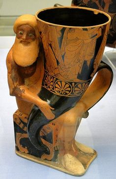 Rhyton in form of Dionysos, Athens, 500-490 BC