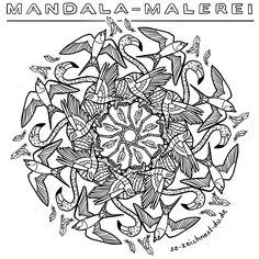 Mandalas ausmalen entspannt und macht viel Spaß! Druck dir das Vogel-Mandala einfach aus und male es nach deinem eigenen Farbgeschmack aus. Wir freuen uns über eure Vogel-Mandala Versionen :) #mandala #ausmalbild #tiermandala #ausmalen Mandala Coloring, Birds, Painting Art, Animales, Simple