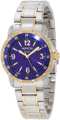 Invicta Women's 0548 Angel Collection 18k Gold-Plated and Stainless Steel Watch >>> You can find out more details at the link of the image.