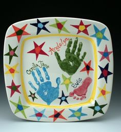 owl creek ceramics bright stars, hand and foot prints