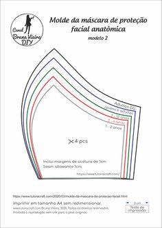 Molde da máscara de proteção anatômica - molde máscara de tecido Diy Mask, Diy Face Mask, Pdf Sewing Patterns, Fabric Patterns, Mascara 3d, Sewing Projects For Beginners, Geek Stuff, Free, Arte Floral