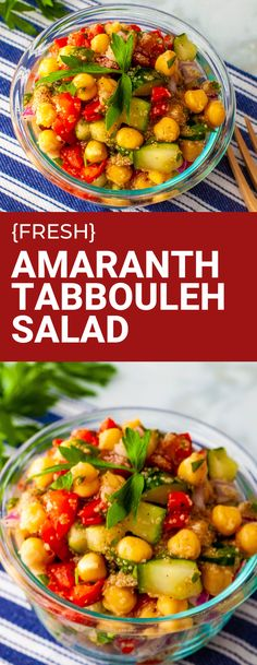 Fresh Amaranth Tabbouleh Salad made with full protein gluten free grain amaranth, cucumber, red pepper, parsley and lemon. Perfect for a plant based lunch or dinner. #plantbased #amaranth Vegan Lunch Recipes, Salad Recipes For Dinner, Healthy Eating Recipes, Healthy Salads, Vegan Dinners, Food Dishes, Side Dishes, Dairy Free, Gluten Free