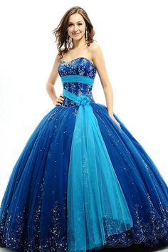 Blue Ball Gown Floor Length Strapless Satin Dress