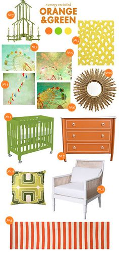 not really our style, but i love the idea of redoing our wedding colors for a neutral nursery  nursery themes - orange and green
