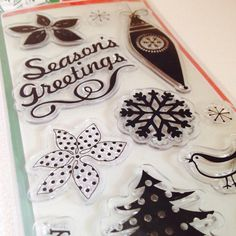 Christmas Cling Stamps, Set of 11, Clear Acrylic Stamps, Mid Century Style, Retro, Season's Greetings, Snowflakes, Ornaments, Words, Tree