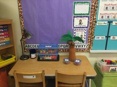 Here is the word work table. I have magnet letters so students can make their names when I post a list of the student names on the bulletin board. I also got the Chicka Chicka Boom Boom tree last year and put it in this center so they can practice the upper and lowercase letters.