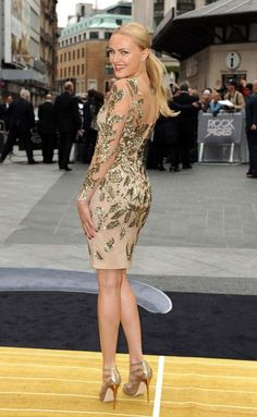 Malin Akerman Beaded Dress - Malin's gold leaf dress at the London premiere of 'Rock of Ages' was a total hit.