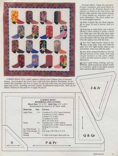 Cowboy Boot Pattern, p 27. Quilter's Newsletter, April 1993.