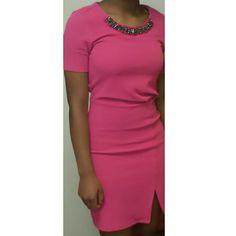 Short Sleeve Dress With Jeweled Neckline