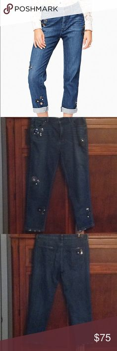 Kate Spade embellished crop jeans Very pretty and comfortable embellished crop denim, boyfriend fit, hem can be rolled.  From the Broome Street collection.  I love these jeans but they are too big for me.  Size 29 but could possibly fit a 10. kate spade Jeans Ankle & Cropped