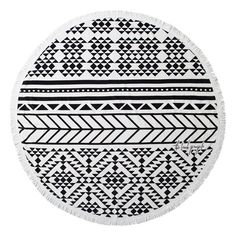 The Beach People Geometric Print Round Beach Towel found on Polyvore featuring home, bed & bath, bath, beach towels, beach, swim, towel, black, black beach towel and round beach towels