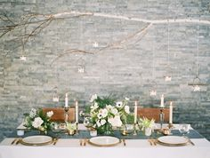 Winter Wedding Tablescape via once wed