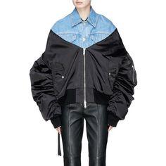 Ben Taverniti Unravel Project Denim panel oversized bomber jacket (€1.285) ❤ liked on Polyvore featuring outerwear, jackets, oversized denim jackets, loose denim jacket, bomber style jacket, loose jacket and denim jacket