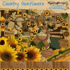 Sunflowers and wood inspired elements in this full size country themed kit.    52 elements and 20 background papers    PLUS you get 2 lower case ALPHA SETS one in tattered wood and the other in tattered tin, both have been left plain so you can adorn them as you wish using the various sunflowers/leaves enclosed in this kit    Personal Use