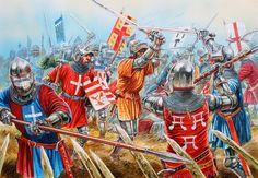 French noble knights in melee combat, Battle of Agincourt, Hundred Years War