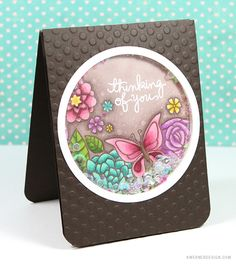Copic Marker Flower Shaker Card - Color Wednesday by Kristina Werner. Butterfly Cards, Flower Cards, Scrapbooking, Scrapbook Cards, Card Making Inspiration, Making Ideas, Karten Diy, Interactive Cards, Card Making Techniques