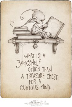 What is a bookshelf other than a treasure chest for a curious mind - a picture poem by the Picsees