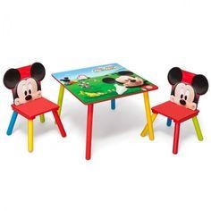Disney Mickey Mouse Tisch mit Stühlen 60x60cm Holz Kindersitzgruppe Kindersitzgarnitur