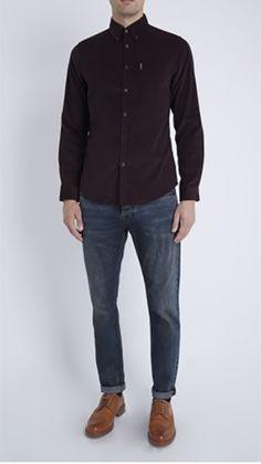 Ben Sherman Burgundy Fine Cord Long Sleeve Shirt