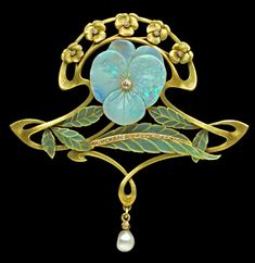 Henri Teterger pansy brooch with opals, plique a jour, diamonds and a pearl, circa 1900.