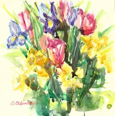 Original Watercolour Painting Spring FlowersPink by TheCaitGallery