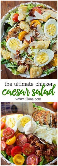 Ultimate Caesar Salad with grilled chicken, croutons, tomatoes, bacon, hard-boiled eggs, Parmesan cheese and tomatoes. Simply AMAZING!!! #weightlosstips