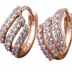 Fashion Lady Gold-color Hoop Earrings luxury Jewelry Round Crystal Cubic Zircon