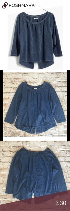 Madewell Slub Peasant Top Distressed Blue $48 Madewell Slub Peasant Top Distressed Blue Swing Open Back Sz S  Product Details A soft peasant tee in a cool textural slub, this feminine gathered top has a swingy shape with a subtle slit in back. A design-team favorite that works with jeans and skirts alike.   Flouncy, flirty fit. Cotton. Machine wash. Import. Madewell Tops