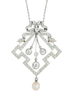 An Antique Diamond and Pearl Pendant Necklace, circa 1900  The trio of old European-cut diamonds suspended within a geometric channel of smaller old European-cut diamonds, topped by a diamond-set ribbon bow, and suspending a pearl of 5.5 mm (not tested for natural), mounted in platinum and 18k gold, from a fine trace linking platinum necklet, length 16 ins