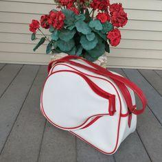 Retro Tennis Racket Bag Shoulder strap Sports bag Red by ravished #vogueteam #vintagesports #etsygiftideas