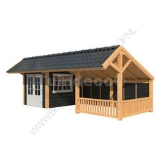 Kapschuur Dwingeloo tuinhuis en met wanden 740 x 410 cm Backyard Playhouse, Backyard Sheds, Outdoor Sheds, Small Buildings, Garden Buildings, Bbq Shelter Ideas, Covered Outdoor Kitchens, Shed With Porch, Shed Construction