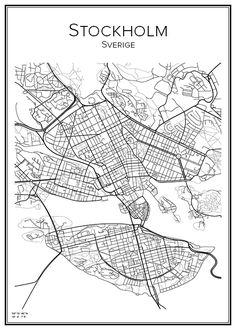 Stockholm. Sweden. Map. City print. Print. Affisch. Tavla. Tryck.
