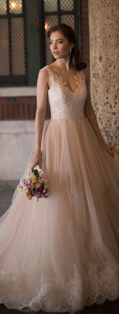 Blush and lace wedding dress by Kelly Faetanini Spring 2017 - Azaela Ball Gown