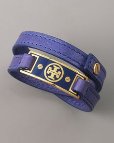 Logo Wrap Bracelet, Purple by Tory Burch at Bergdorf Goodman.