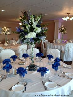 Royal blue wedding centerpieces table decorations centerpiece ideas for reception centerpie Royal Blue Centerpieces, Royal Blue Wedding Decorations, Blue Wedding Flowers, Wedding Flower Arrangements, Flower Centerpieces, Reception Decorations, Wedding Colors, Bridal Flowers, Centerpiece Wedding