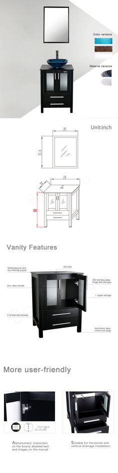 Images Photos Vanities Modern Bathroom Vanity Cabinet Single Wood Glass Ceramic Vessel Sink Top