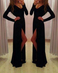 black Prom Dresses, long sleeves prom dress, side slit prom Dress,long prom dress,evening dress,BD1987