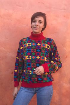 ea999a50dd Vintage 1990s Hand Knit The Limited Women s Turtleneck Sweater. Colorful  Rainbow multicolor. baggy 9