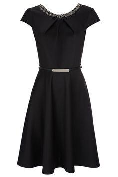 black embellished dress / a-line with belt detail