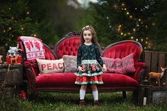 Christmas minis, red couch, holiday lights
