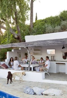 Weekend escape: a Spanish finca in Andalucia - Covered outdoor kitchen and dining area Outdoor Rooms, Outdoor Dining, Outdoor Gardens, Outdoor Decor, Outdoor Pergola, Outdoor Kitchens, Pergola Kits, Pergola Ideas, Backyard Decks