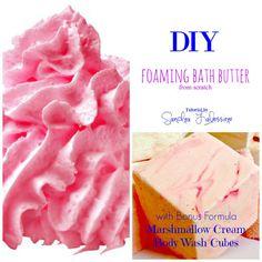 AD: DIY Foaming Bath Butter Base plus a tutorial for making DIY Marshmallow Cream Body Wash Cubes!