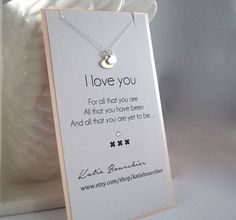 Double Heart I love you 925 Sterling Silver Necklace Silver Meaningful Girlfriend / wife gift idea heart love jewelry Romantic gifts for her