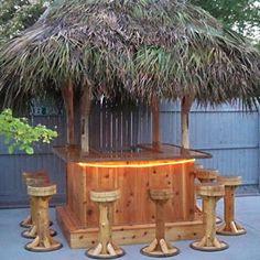 TIKI BAR 6 x 6' Custom Red Cedar Tiki Kev by TikiKevsTikiShop