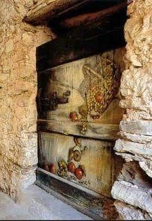 Fantasia de Outono. 2002. Mina Bova. Em Valloria, a aldeia das portas pintadas. Municípío de Prelà, província de Impéria, região da Ligúria, Itália.