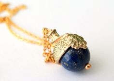 Acorn Necklace with Gold Chain and Blue Lapis Bead by MaisJewelry