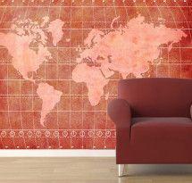 Adesivo de Parede – Mapa-múndi Decorativo Vermelho Estonado